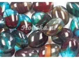 CZO07   16 x Tsjechische Glaskraal Ovaal 11 x 9mm Blauw/Rood