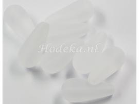 CZD02  5 x Tsjechische Glaskraal Druppel 20 x 9mm Wit mat
