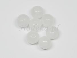 ACP08/07   14 x acryl kraal rond 8mm Gemeleerd Wit