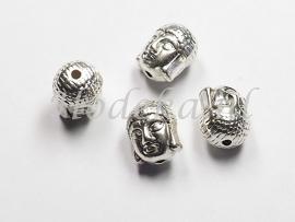 MTL49   3 x metalen kraal Buddha hoofd 11x9mm Zilver kleur