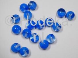 CZR25 5 x glaskraal rond Blauw / transparant  10mm