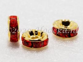 MTS36  4 x Goud Kleurige Metalen kraal met strass Oranje/Rood 8 x 3.5 mm