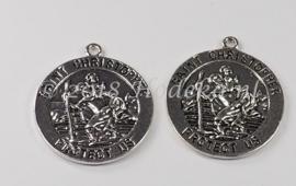BDG36  1 x   Heilige  Christoffel Antiek Zilver  33mm