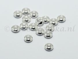 MTL104   10 x metalen basis kraal  Rondel  5 x 2 mm Zilver
