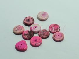 NSD21  8 x kraal Plat rond van steen Roze ca.3/4 x 12 mm