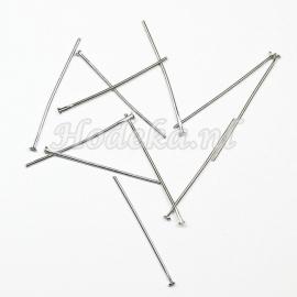 BNK02  50 x Nietpen Antiek Zilver 30mm