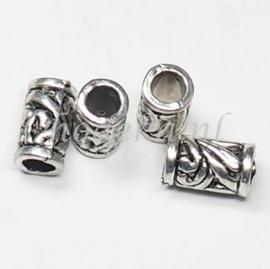 MTL82   4 x metalen kraal  Buisje 12 mm Antiek Zilver