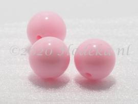 ACP14/17a  40 x acryl Kraal rond 14mm Roze