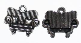 BDM40a  5 x Bedel Bank Antiek Zilver 16 x 14 mm