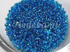 CRP11/02a  50 gram Preciosa Rocailles 11/0 Aqua Blauw Silverlined