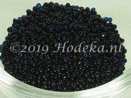 Opruiming van de CRP15/46a  50 gram Preciosa Rocailles 15/0 2 Kleurig Blauw en Zwart