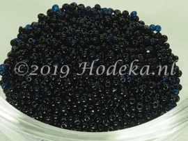 CRP15/46  12 gram Preciosa Rocailles 15/0 2 Kleurig Blauw en Zwart