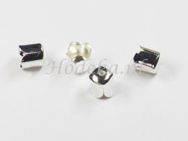 BKK36  14 x  Metalen eindkap 6.5x7mm Zilverkleur