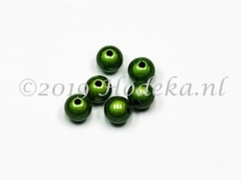 MIR08/24  12 x miracle beads Leger Groen ca. 8mm
