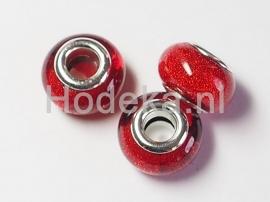 PDK03  1x pandora style Kunsthars kraal Donker rood