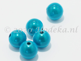 MIR12/10  6 X miracle beads Aqua Blauw 12mm