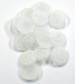 KNO59  1 x  Prachtige brocante witte knoop met oog ca. 20mm