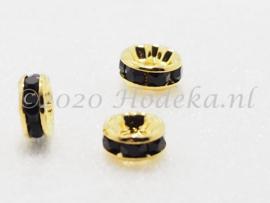 MTS38  4 x Goud Kleurige Metalen kraal met strass Zwart 8 x 3.5 mm