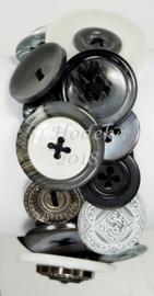 KPK02 Knopen armband pakket Grijs/Wit