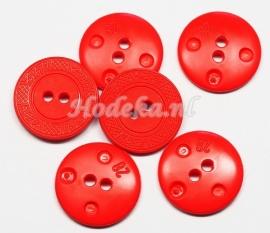 KNO122  1 x Oranje/Rood knoop ca. 18 mm