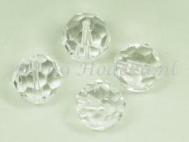 FCR16/01   2 x Facet geslepen glaskraal Rond Transparant 16mm