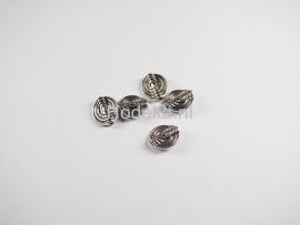MTL51   6 x metalen kraal plat Rond 11x10 mm Antiek Zilver