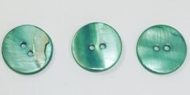 KNO27a  5 x Groen  Schelp knoop ca. 20mm