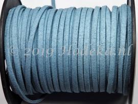 BSV42  1 meter imitatie Suede Veter Blauw/Grijs 4mm