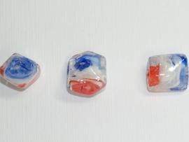GLS07a  25 x Glaskraal Rechthoek Rood, Wit en Blauw 15mm