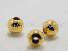 MTL116   6 x metalen kraal  10 mm Goud