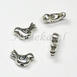MTL57   5 x  metalen kraal Vogel 9 x 15 mm Antiek Zilver