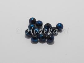 GLR40   8 x glaskraal rond mix van Petrol / Blauw / Zwart  10mm