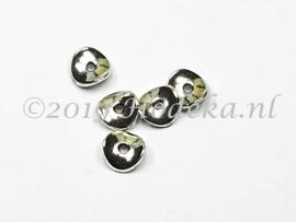 MTL102   8 x metalen kraal Plat Rond spacer  10 mm Zilver