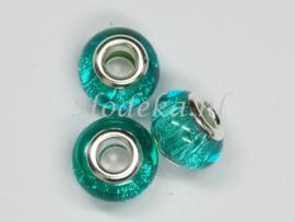 PDK22  1 x pandora style Kunsthars kraal Glitter Blauw/Groen streep
