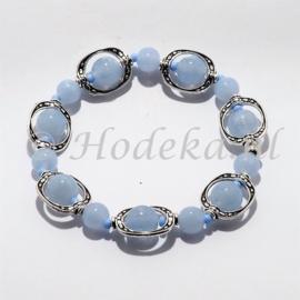 ABP01-06  Armband met verdelers licht blauw