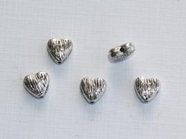 MTL19   8 x  metalen kraal Hartje  9mm Antiek Zilver
