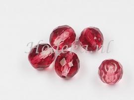 CZF24   5 x Tsjechische Glaskraal Facet  10mm gemeleerd oud roze