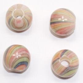 ACP20/18    4 x acryl parel 20 x 18mm rond  mix van lichte kleuren