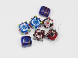 GLV09  6 x  Glaskraal Vierkant Mix van diverse kleuren en maten