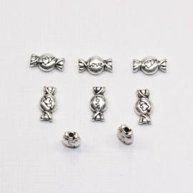 MTL03   8 x metalen kraal Snoepje 12 x 6 mm Antiek Zilver
