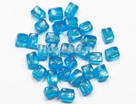 GLV05 25 x Glaskraal Vierkant Blauw  8 x 6mm