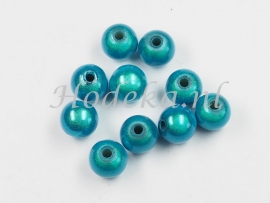 MIR08/17  12 X miracle beads Aqua Blauw ca. 8mm