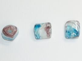 GLS08  5 x Glaskraal Rechthoek Paars, Wit en Blauw 15mm