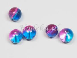 GLR63  12 x Glaskraal Blauw en Roze 8x9mm