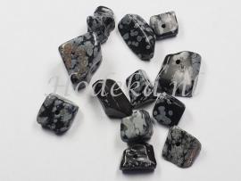 NSG02 12 x Natuursteen Kraal Zwart en Grijs Sneeuwvklok Jaspis