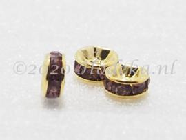 MTS33  5 x Goud kleurige metalen kraal met strass Paars 6 x 3 mm