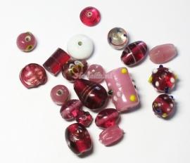 GMM11   50 gram Glaskralen mix Roze