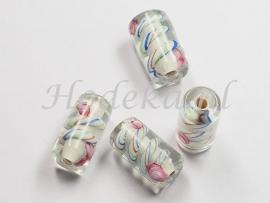 GLS13  1 x Glaskraal buisje Wit, Transparant en diverse  kleuren 16mm