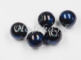 GLR48  8 x glaskraal rond Donker blauw / Zwart  10mm
