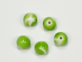 ACP10/11a   50 x Acryl kraal rond 10mm Groen/Wit